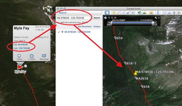 Entering the latitude and longitude from a Delorme inReach satellite message in Google Earth with Halfmile data.