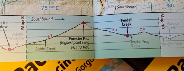 Each map page has an elevation profile of the trail.