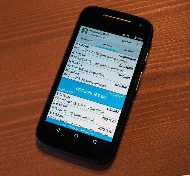 An Android phone running Halfmile's PCT app.