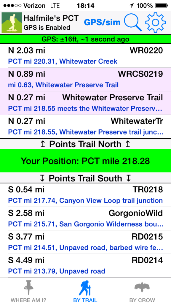 The Halfmile PCT app on an iPhone.