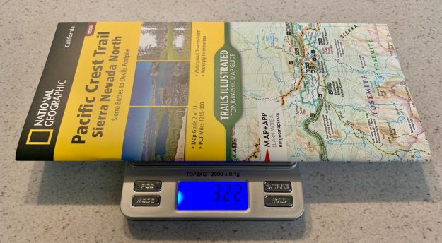 Each Pacific Crest Trail maps weigh between 2.8 and 3.2 ounces.